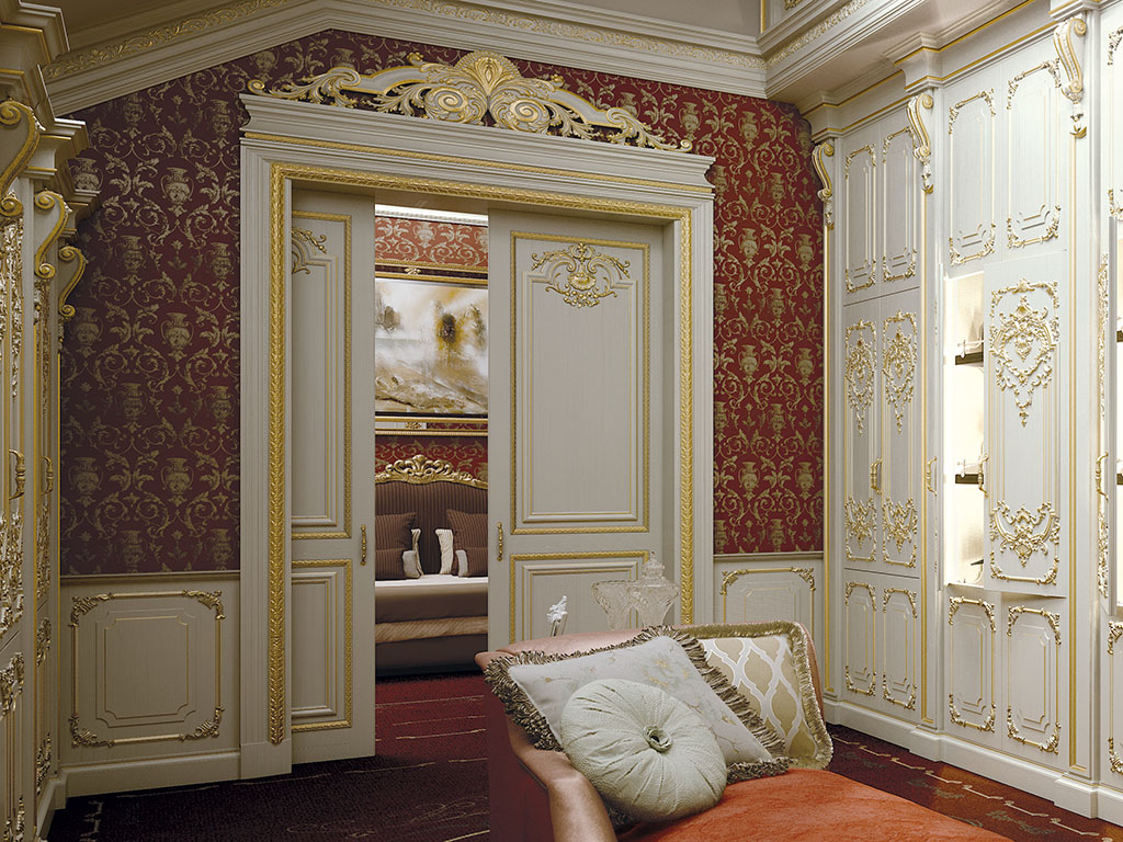 Portal with hinged slide-scrolling doors of the King Gold collection.