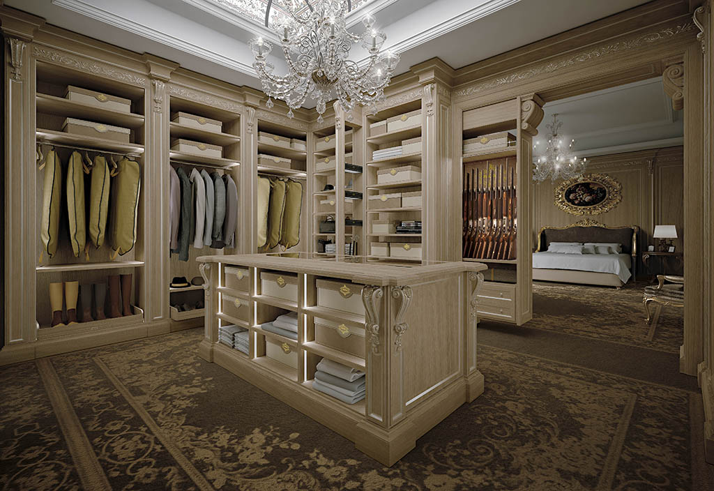 The spacious walk-in wardrobe is integrated into the cozy night area