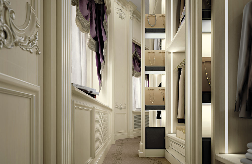 Secrétaires of various dimensions can be integrated into motorized pilasters opening by biometrics or remote control.