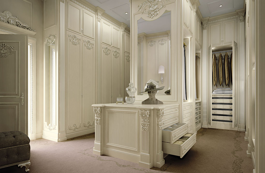 Bespoke walk in closet with automation systems queen for Dressing room interior