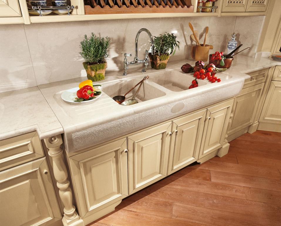 A practical double sink sculpted from marble