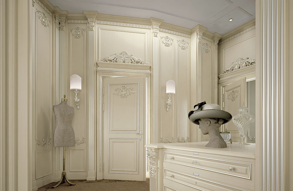 The art of Faoma cabinet making is expressed in the creation of complex details such as semicircular wainscoting.