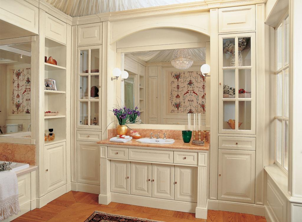 Classic paneling with fluted columns  diamond finish doors and drawers