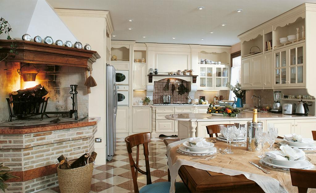 A fascinating interior which blends kitchen and dining area