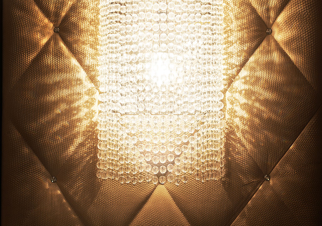Detail of the fine crystal wall lamp