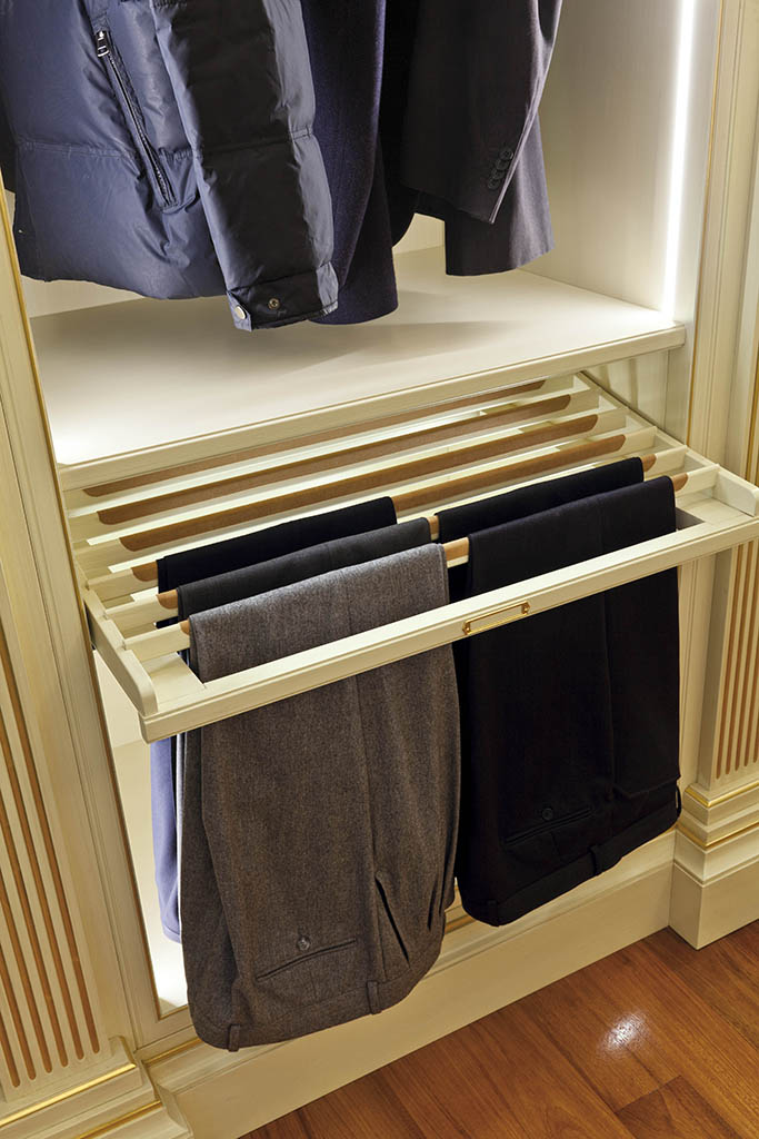 Top view of the pull-out shelves for trousers' storage