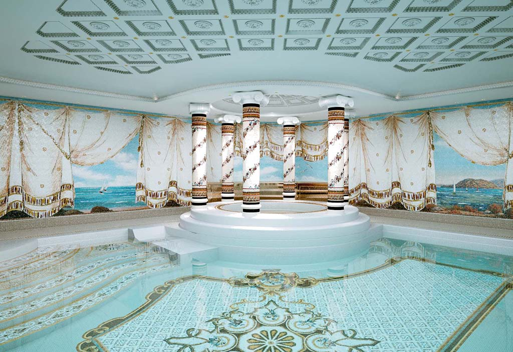 The magnificence and opulence of the mosaics created according to the project identify the swimming pool area