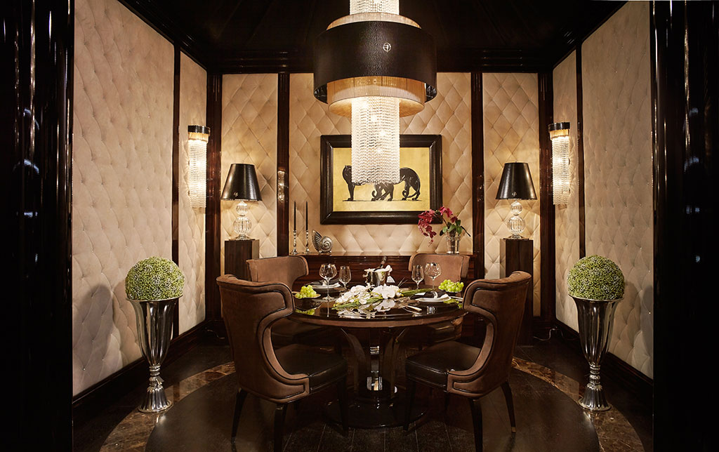 Déco style is interpreted in the dining area
