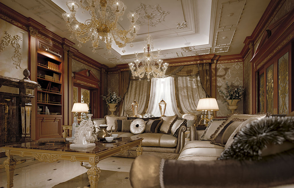 The elegance of the living room is enhanced by the perfect coordination of the decorative elements.