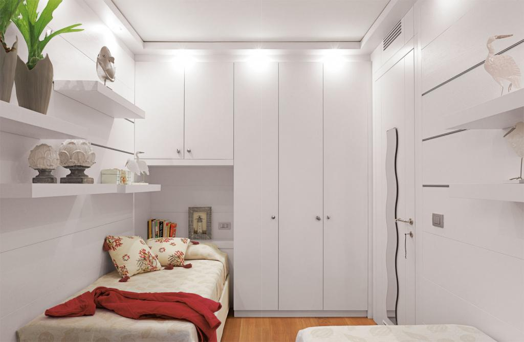 Horizontal paneling and full height wardrobes