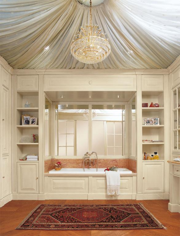 Built-in bath tub matching with the paneling of interiors