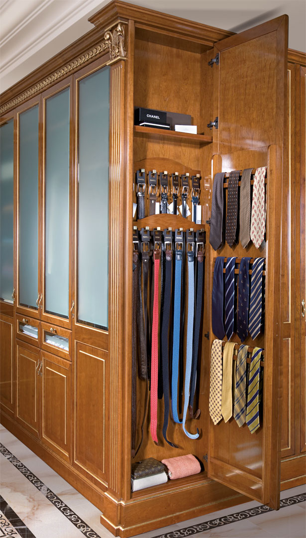 Tie rack and belt rack at the end