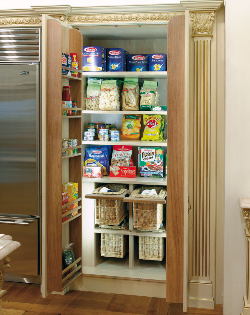 A large pantry with internal lighting
