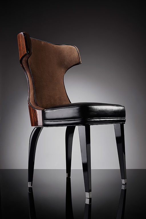 Makassar ebony chair in alcantara and leather and with steel profiled legs