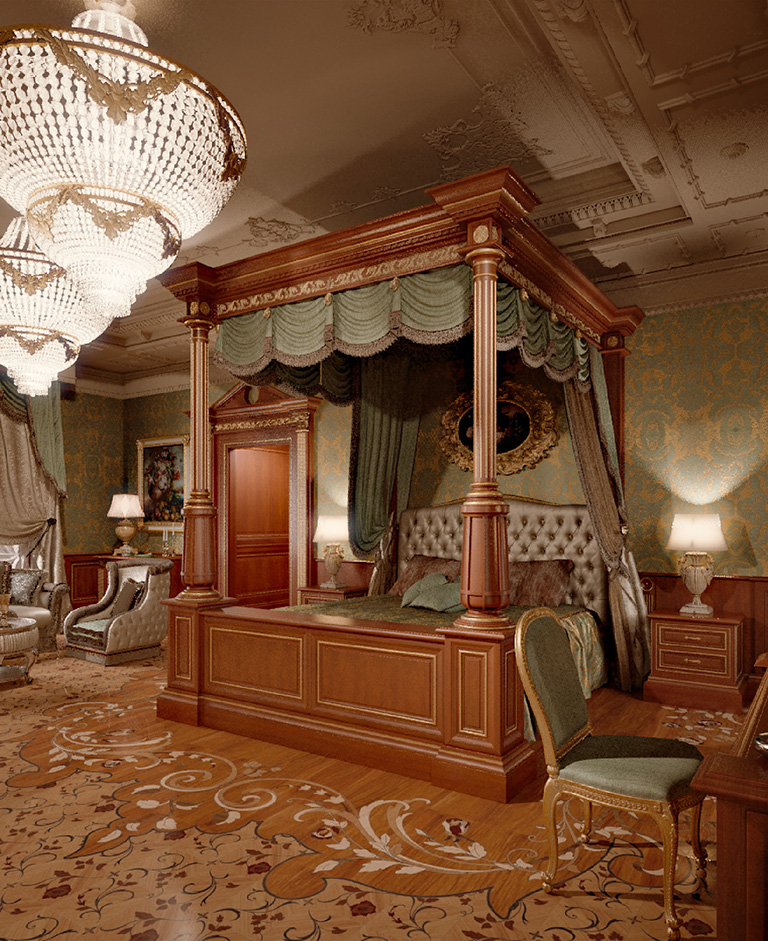 Canopy bed decorated with brocade is coordinated to the fabric wall-paneling.