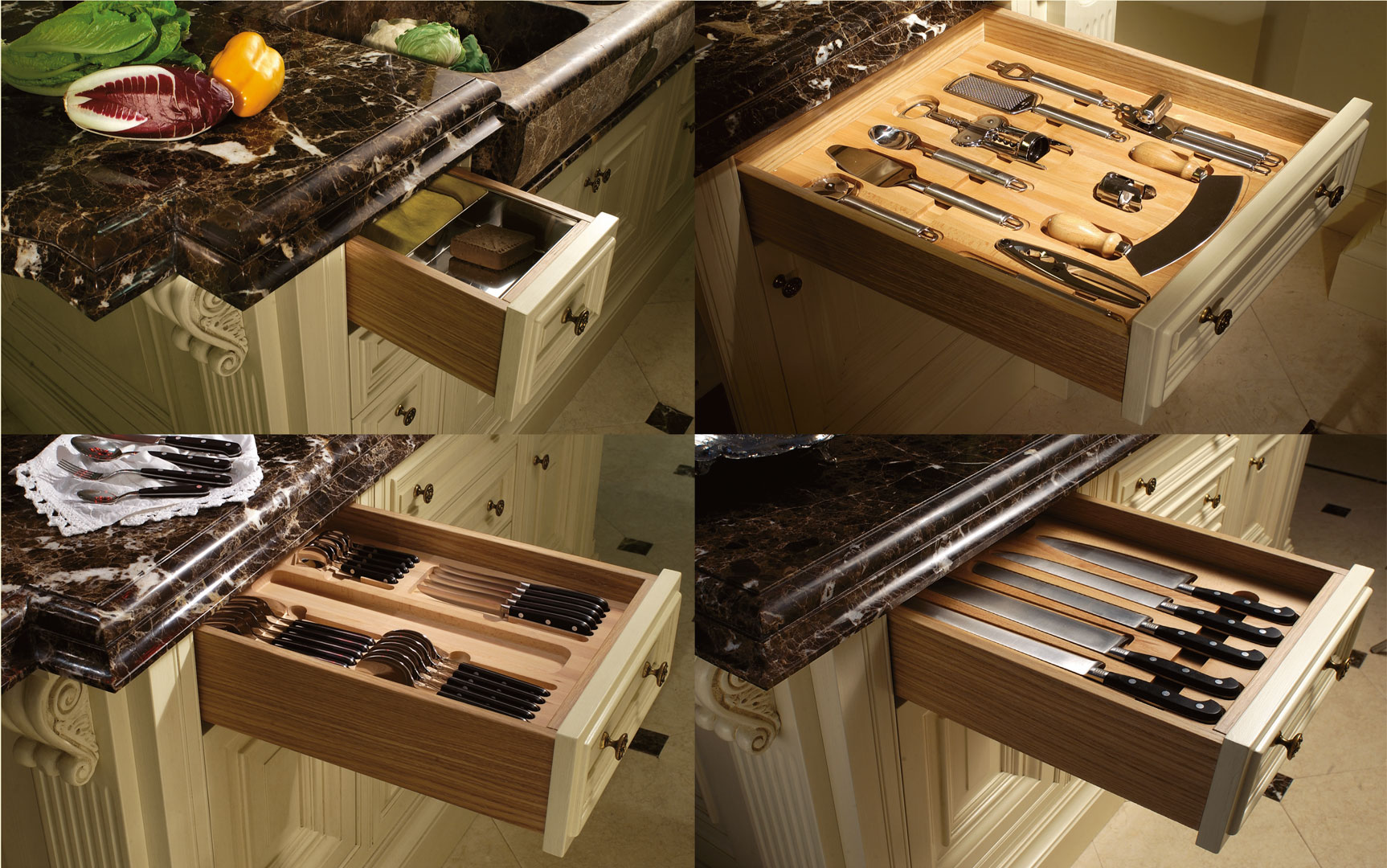 The kitchen island contains drawers fitted with internal dividers for all your kitchen utensils