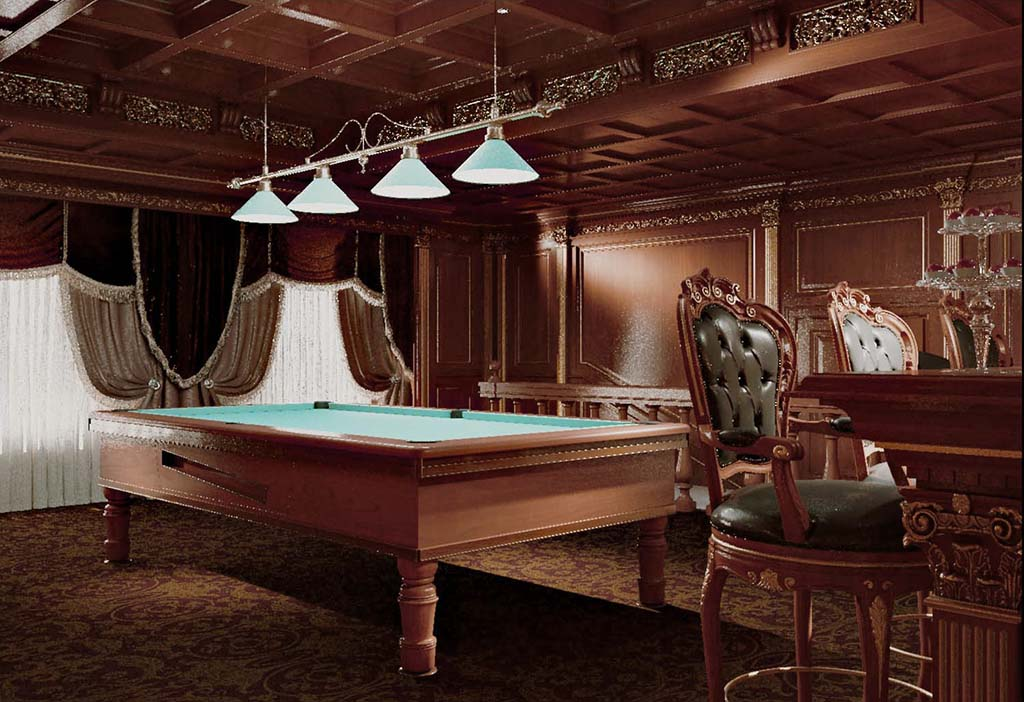 The wood paneling decorates walls on the perimeter of the room, creating an intimate ambience, made with refined taste.