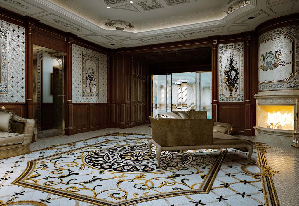 Large hall of the Wellness area with precious artistic mosaic floors and polychromic paneling.