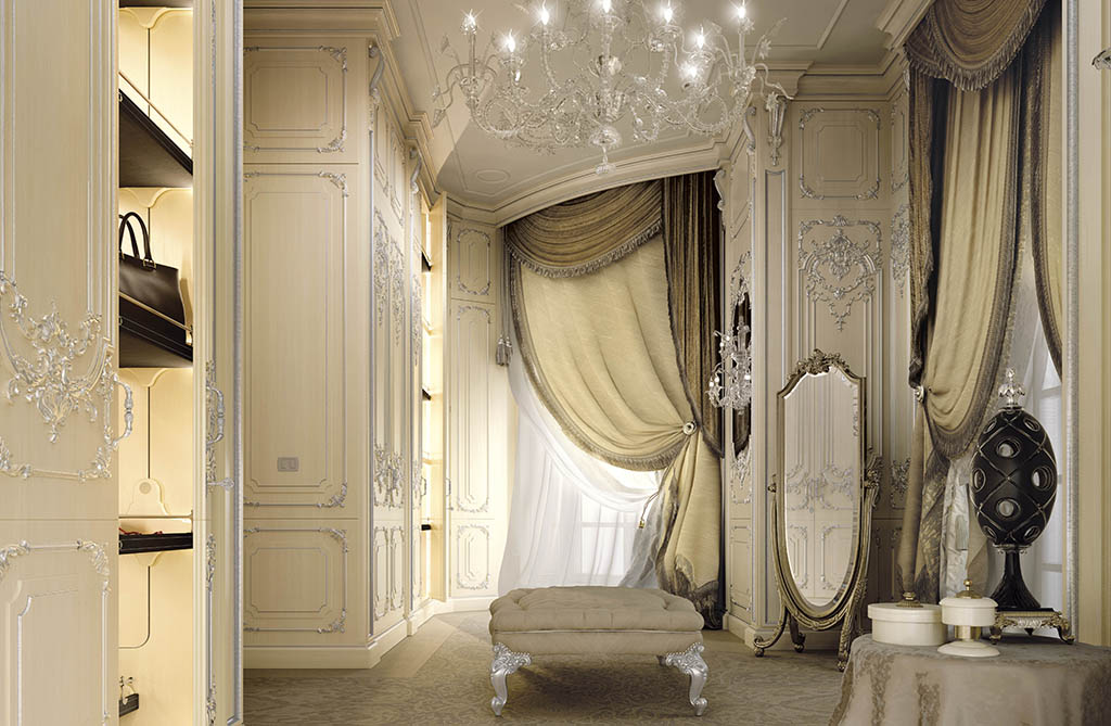he fabrics of the curtains are integrated in full-height boiserie decorated with silver leaf