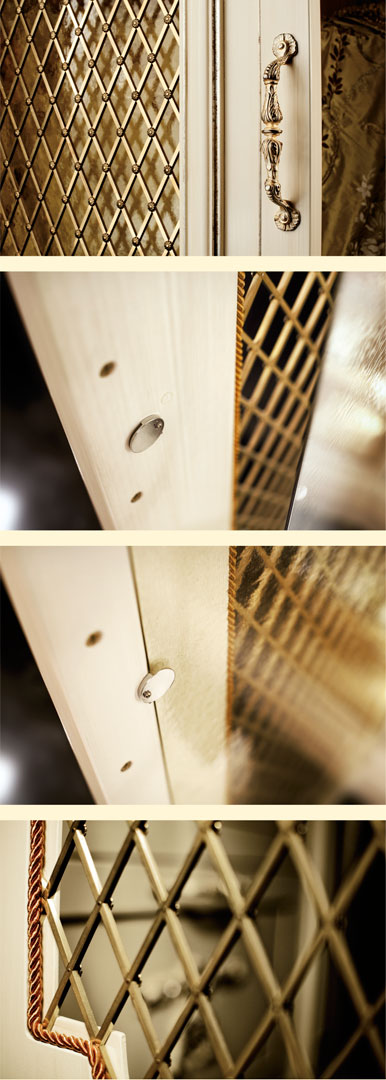 Inner door grating, brass antiqued handles