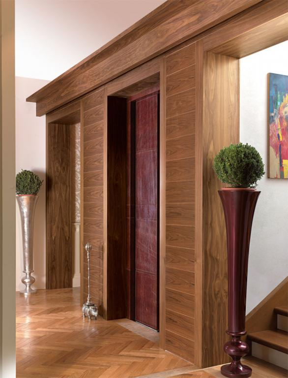 Exclusive Canaletto walnut entrance of the home spa