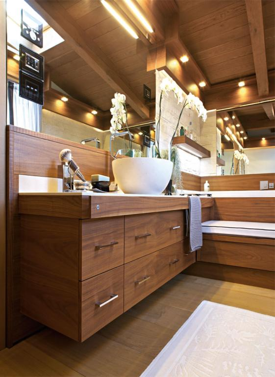 Convenient towel rack made from sawn Canaletto walnut