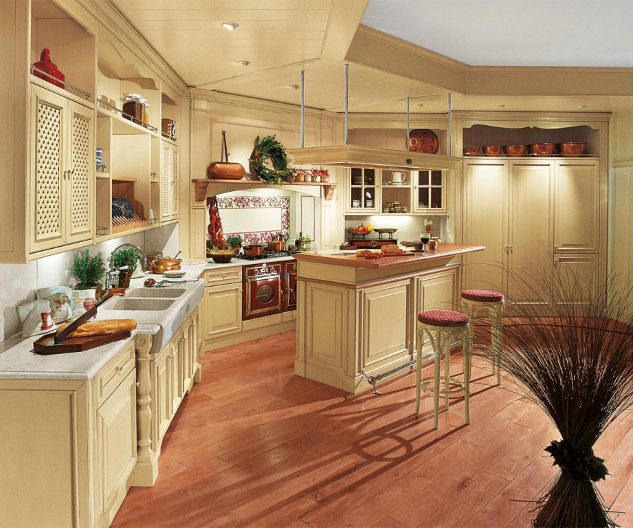 A customized solution with central island and coordinated ceiling