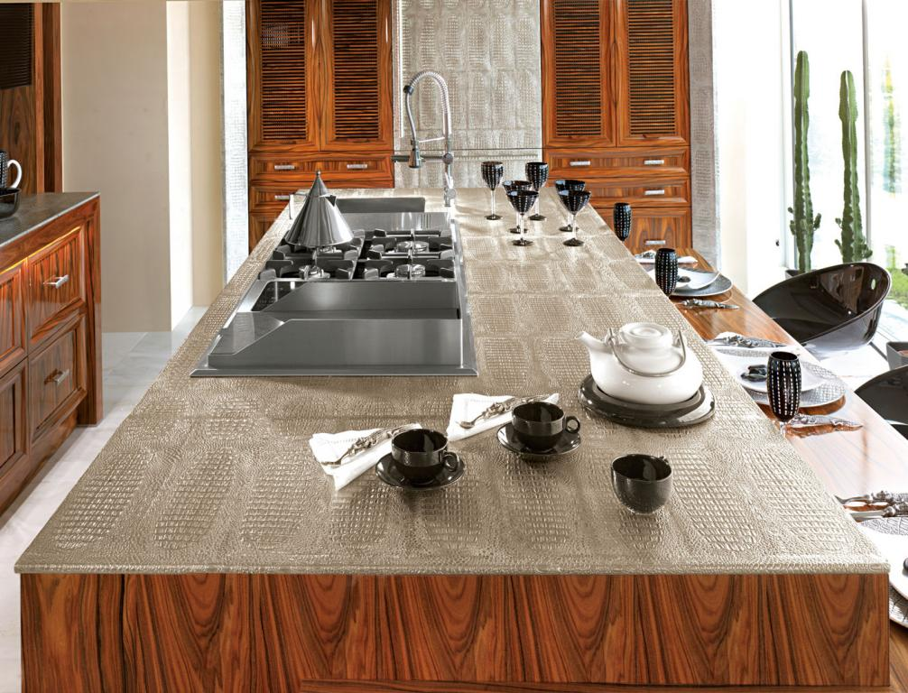 Island with cooker inbuilt in the top in crocodile skin pattern cast pewter