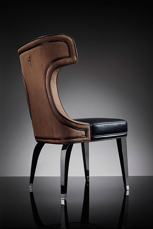 Operà collection chair in alcantara, leather and legs with steel embellishments