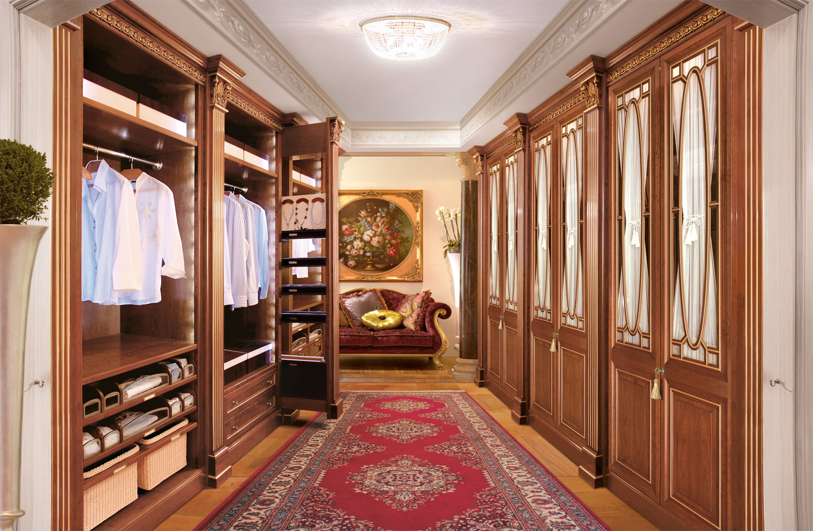 A walk in wardrobe with day and protected areas