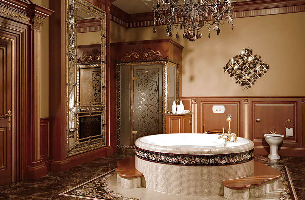 Hydromassage bath is decorated with floral mosaic coordinated with the inlaid polychrome marble floor.