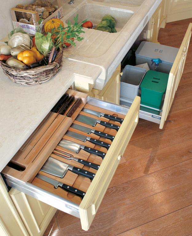 Close-up of the inside of a drawer and service basket