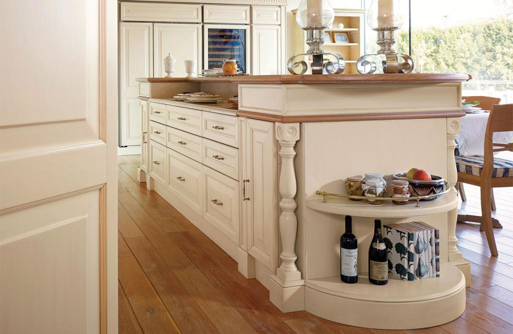 Central island equipped with top, drawers and removable drawers for kitchen equipment