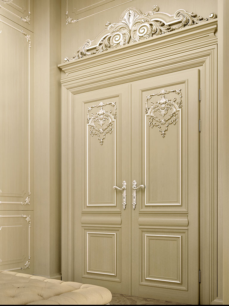 Portal of the collection King Silver is made of wood ivory lacquered and decorated with silver leaf.