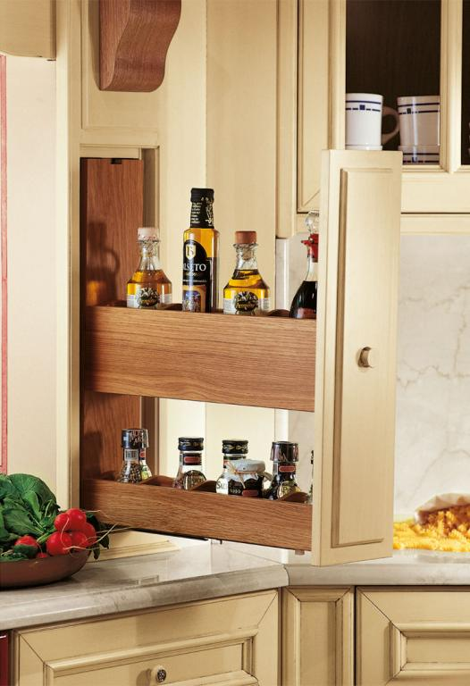 Removable drawer, spice rack in the cooker hood modillion