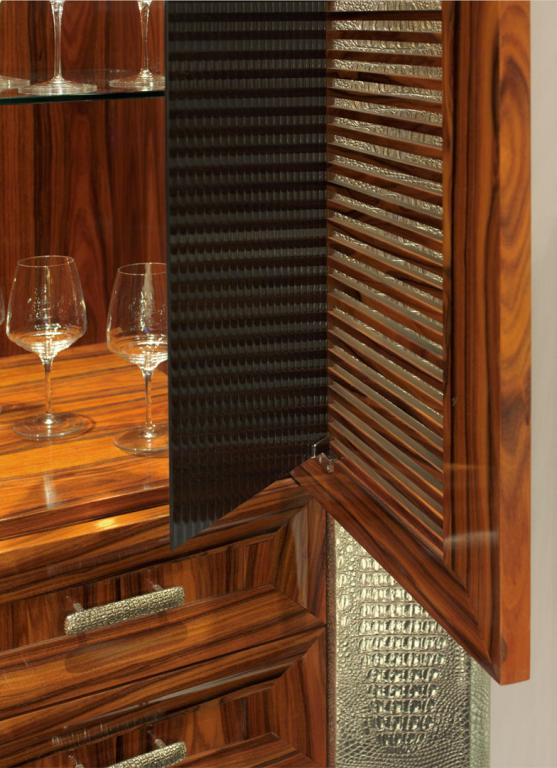 Grating door with interior opening glass