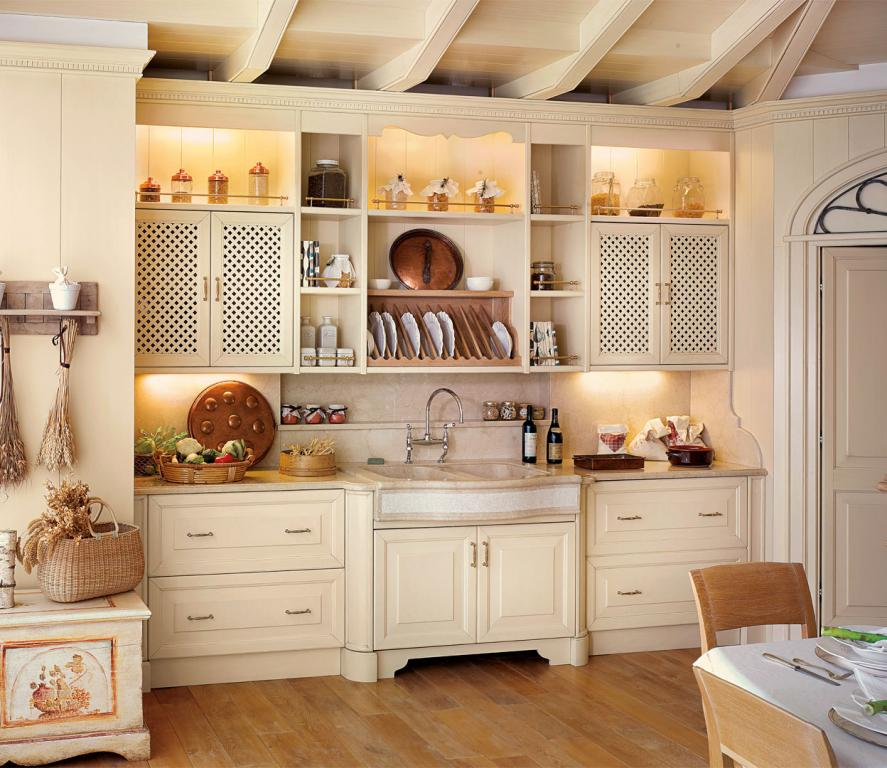 Washing wall with inbuilt dishwasher and solid bleached oak plate rack