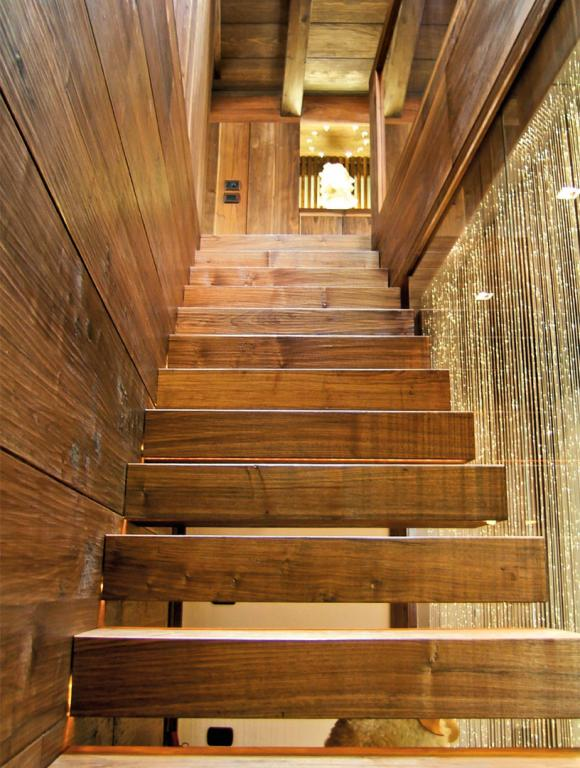 Paneling is also used to line the stairs