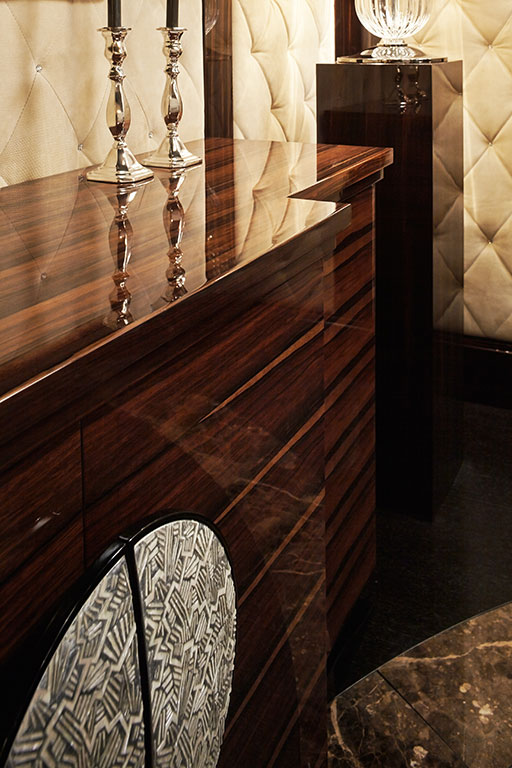 Makassar ebony dresser with mother of pearl handle