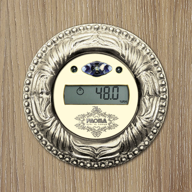 Detailed view of the environment hygrometer placed in the wall of the wardrobe.