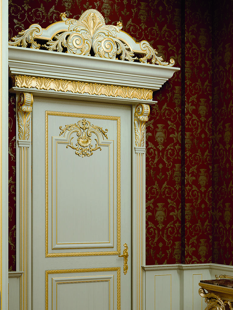 Particular detail of the door decoration of the King Gold collection