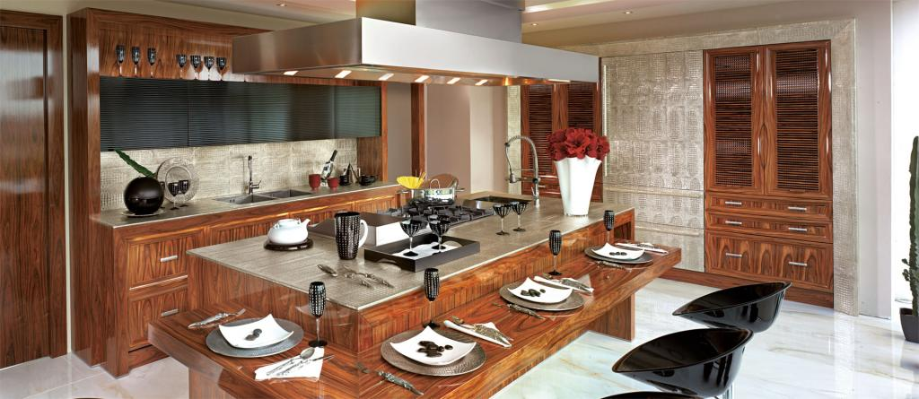 A spacious motorized cooker hood over the island