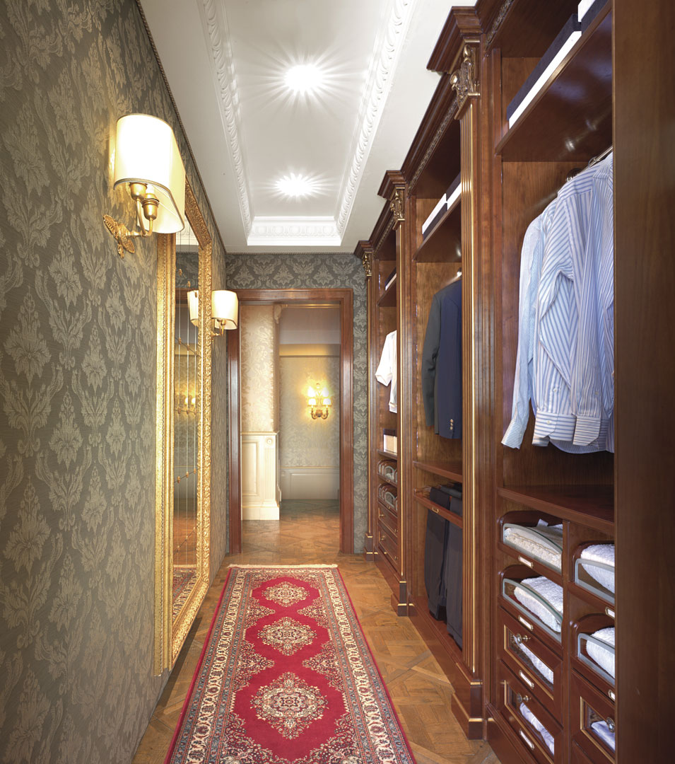 Antiqued and coated cherry walk in wardrobe decorated with gold foil