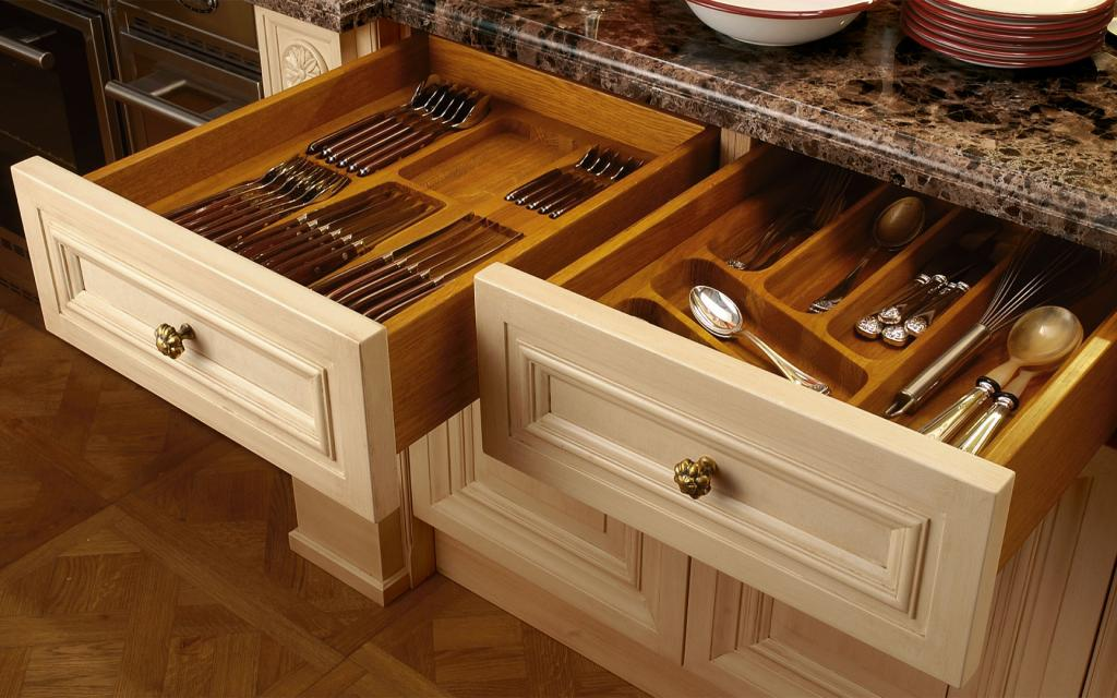Cutlery drawers contain useful internal compartments