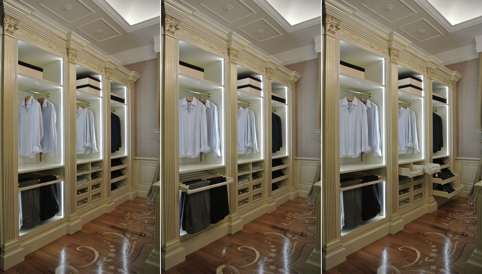 General view of the internal components of the wardrobe.