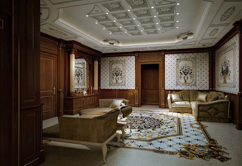 Precious floral mosaics are embedded in wainscoting, enveloping all the walls of the room