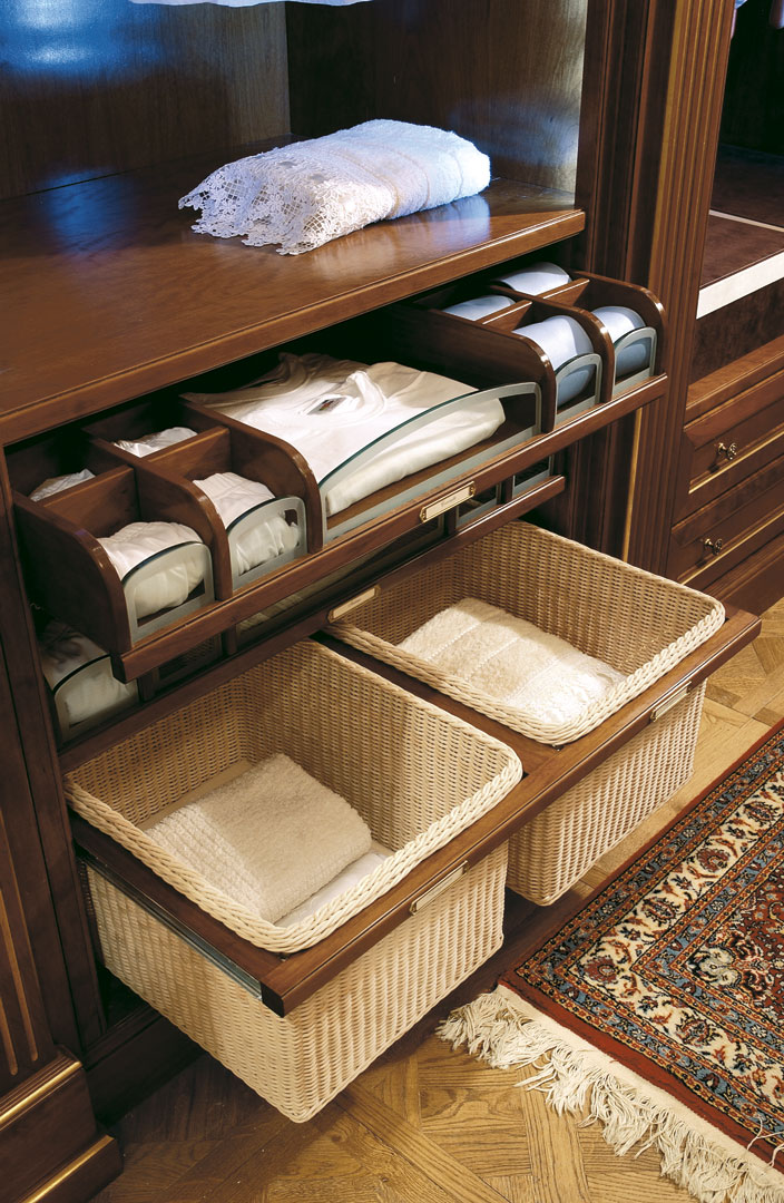 Extractable baskets for towels and special linen compartments