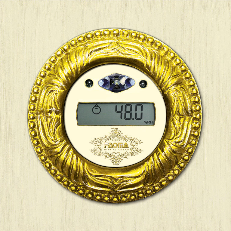 Each room is equipped with an aesthetically coordinated hygrometer to help preserve its distinctive character over time.