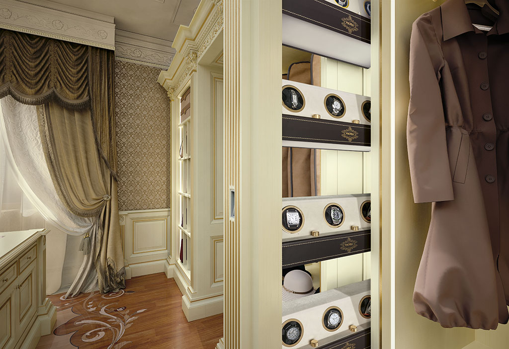 A convenient compartment has been built into the pull-out pilaster to hold your jewellery timepieces