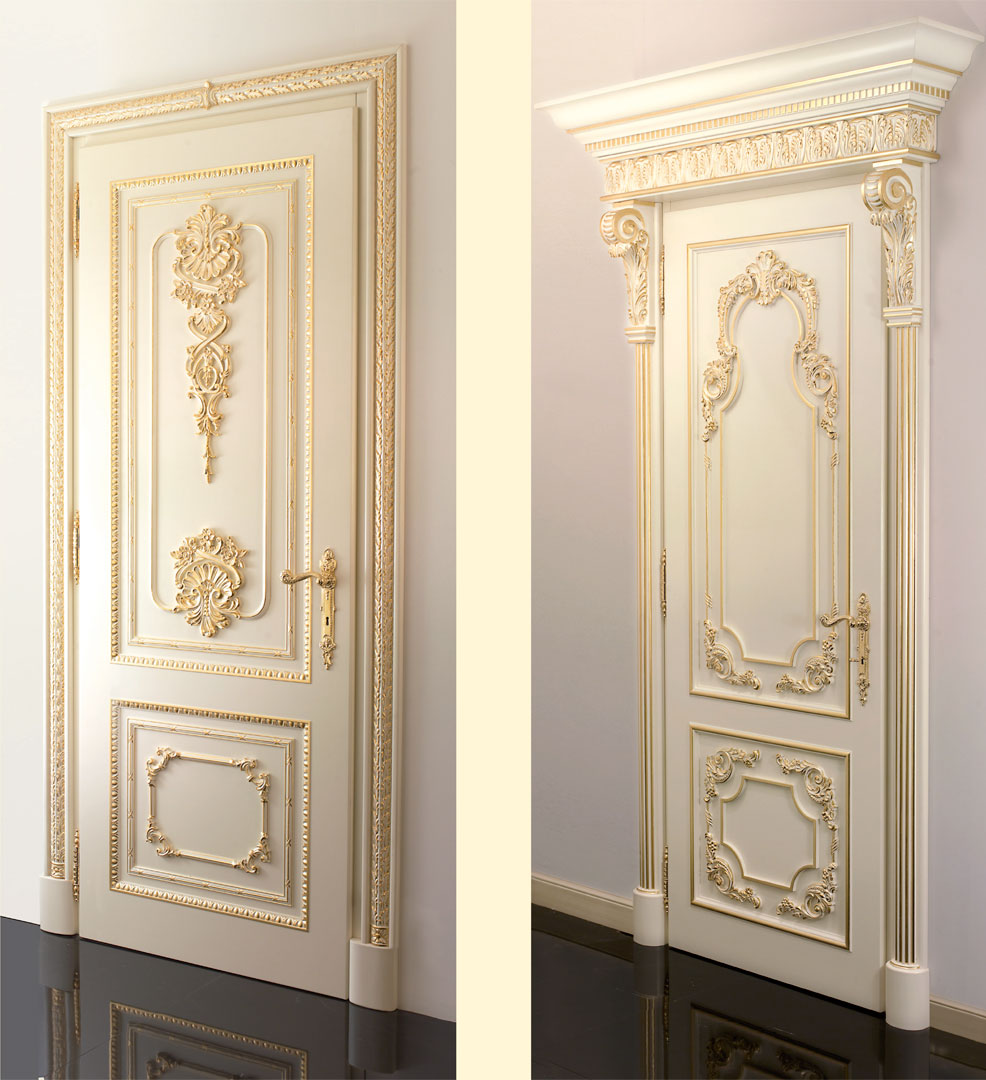 Inside door ivory lacquered and embellished with gold foil